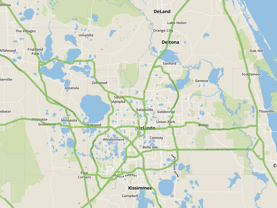 Example tile map with traffic conditions (courtesy of Microsoft Bing)
